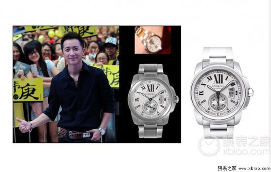 韩庚佩戴Calibre de Cartier系列W7100015腕表